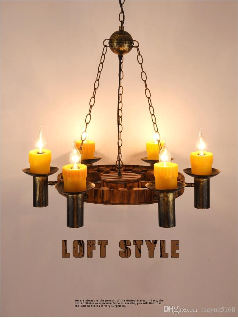 Wood Lights Candles Vintage Wood Metal Pendant Lamp Antique Candle Resin Suspension