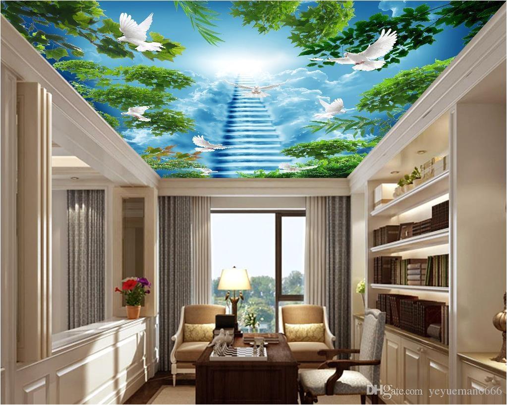 custom 3d wallpaper 3 d Ceiling living room bedroom wallpaper Big tree flying pigeon 3d ceiling