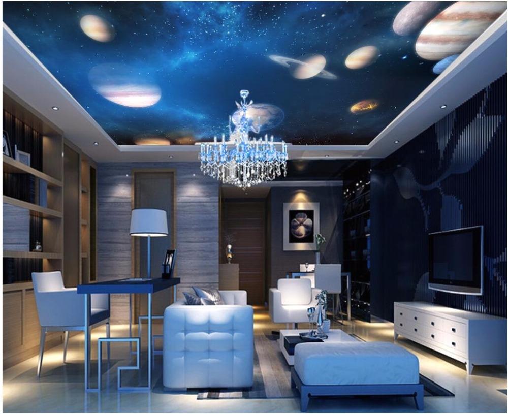 3d Ceiling Living Room Custom Wallpaper 3d Ceiling Murals Cosmic solar System Planet Starry