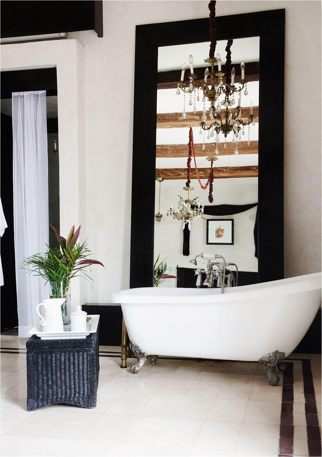 Lonny Magazine December January The clawfoot tub inside the single room at Valladolid s Coqui Coqui