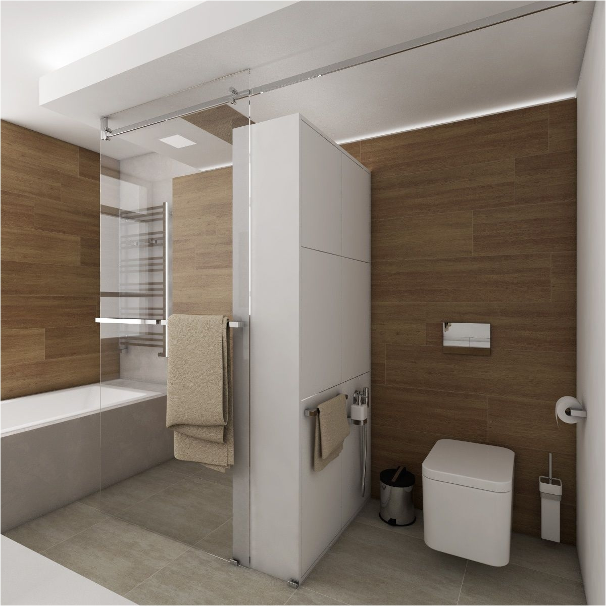 Luxusn koupelna BEIGE DELUXE Pohled od umyvadla