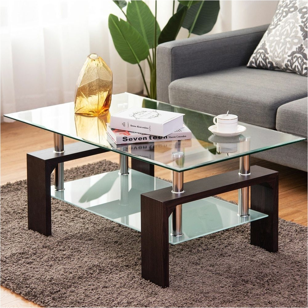 Black Living Room End Tables Costway Black Rectangular Tempered Glass Coffee Table W Shelf Living