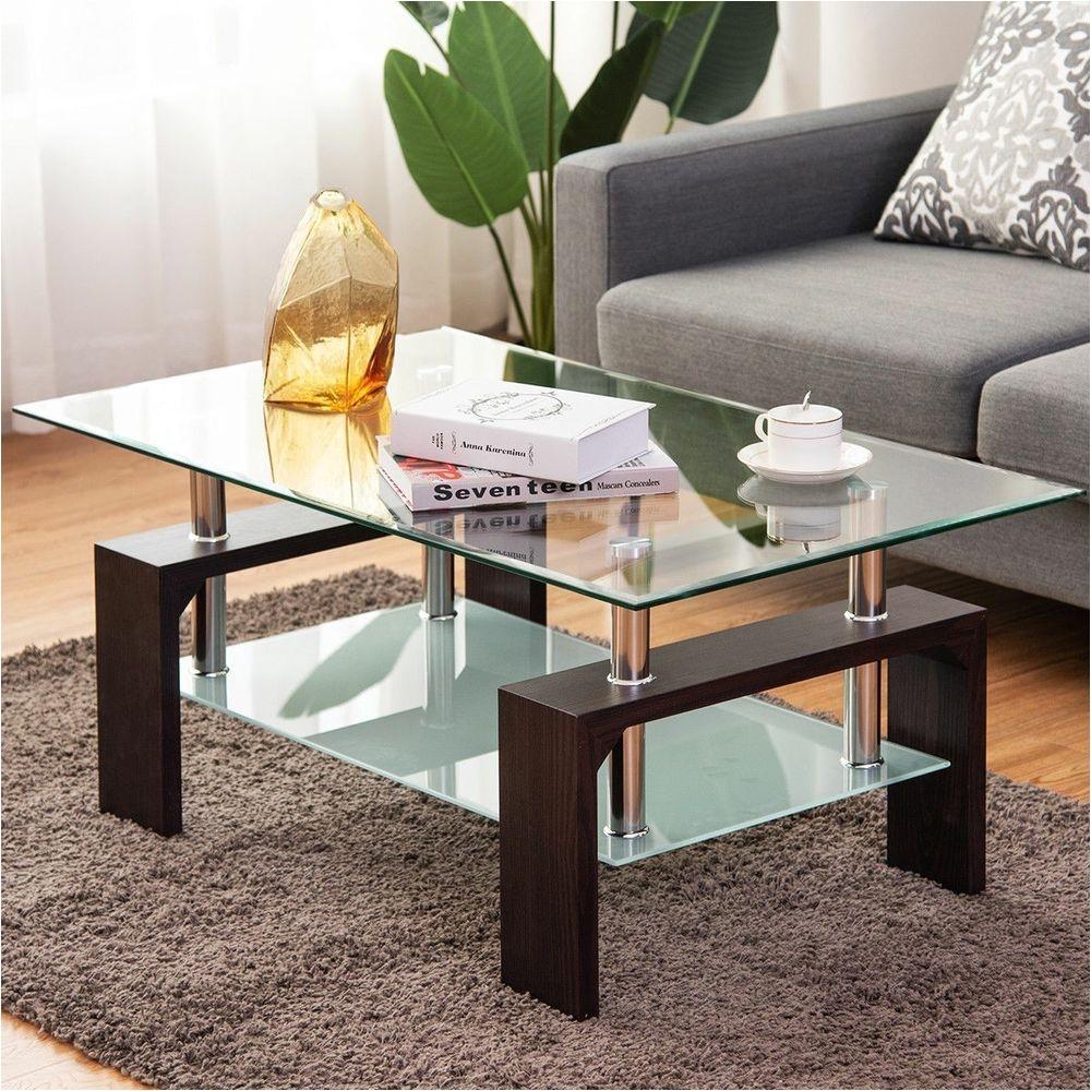 Costway Black Rectangular Tempered Glass Coffee Table W Shelf Living Room Wood $138 99