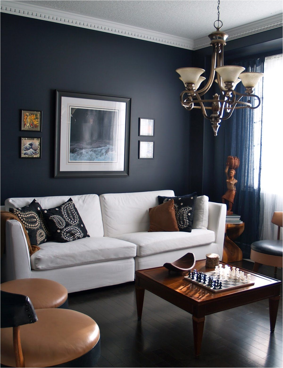 Blue and Grey Living Room 15 Beautiful Dark Blue Wall Design Ideas