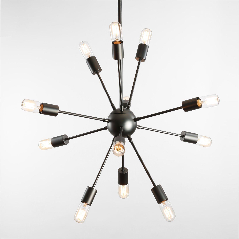 Medium 12 Light Gunmetal Sputnik Hanging Pendant Startling review available here home