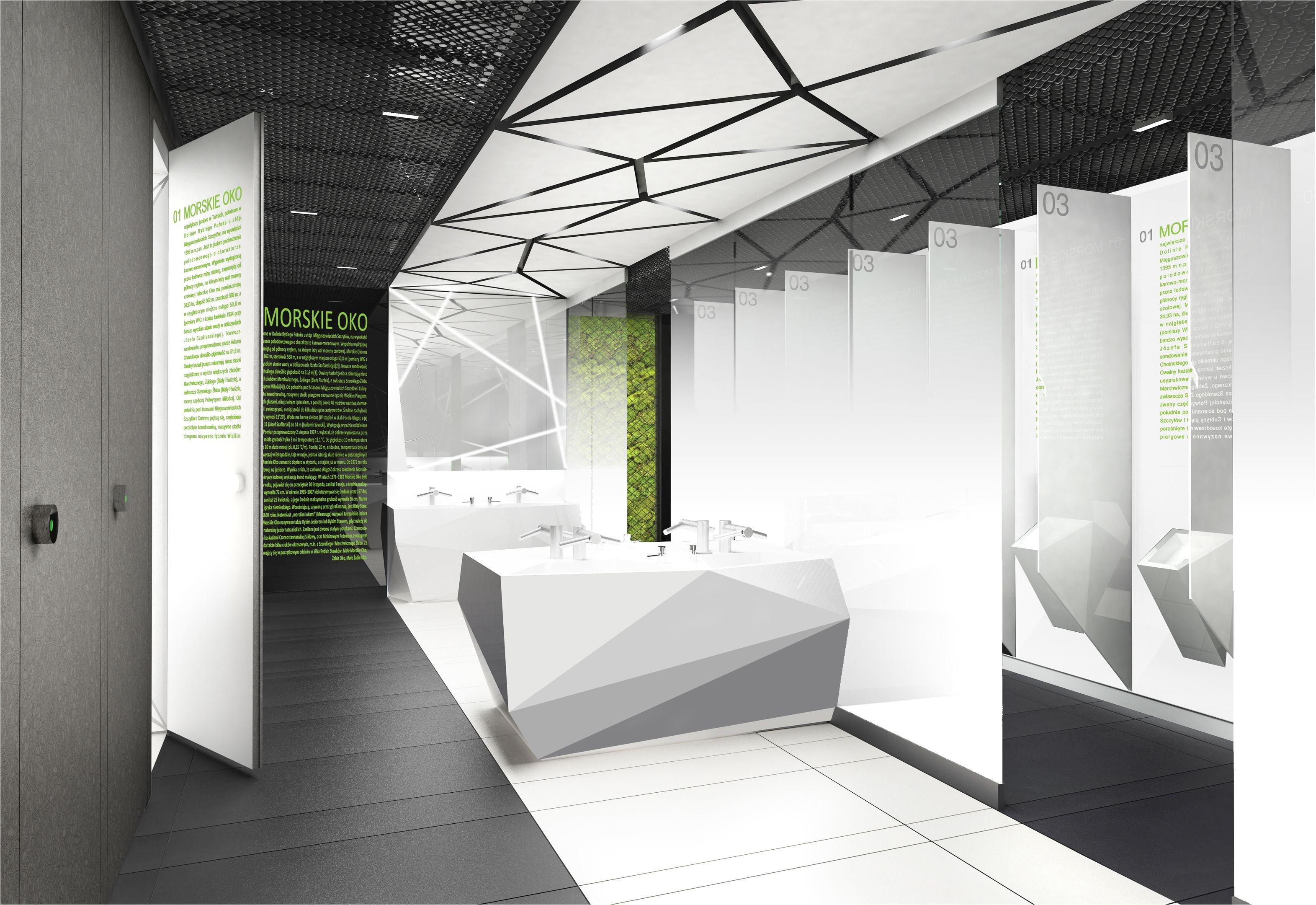 Design of the interior for public toilets and corridors in SC Złote Tarasy stage 02 geometric minimal zlotetarasy architecture design interiors art