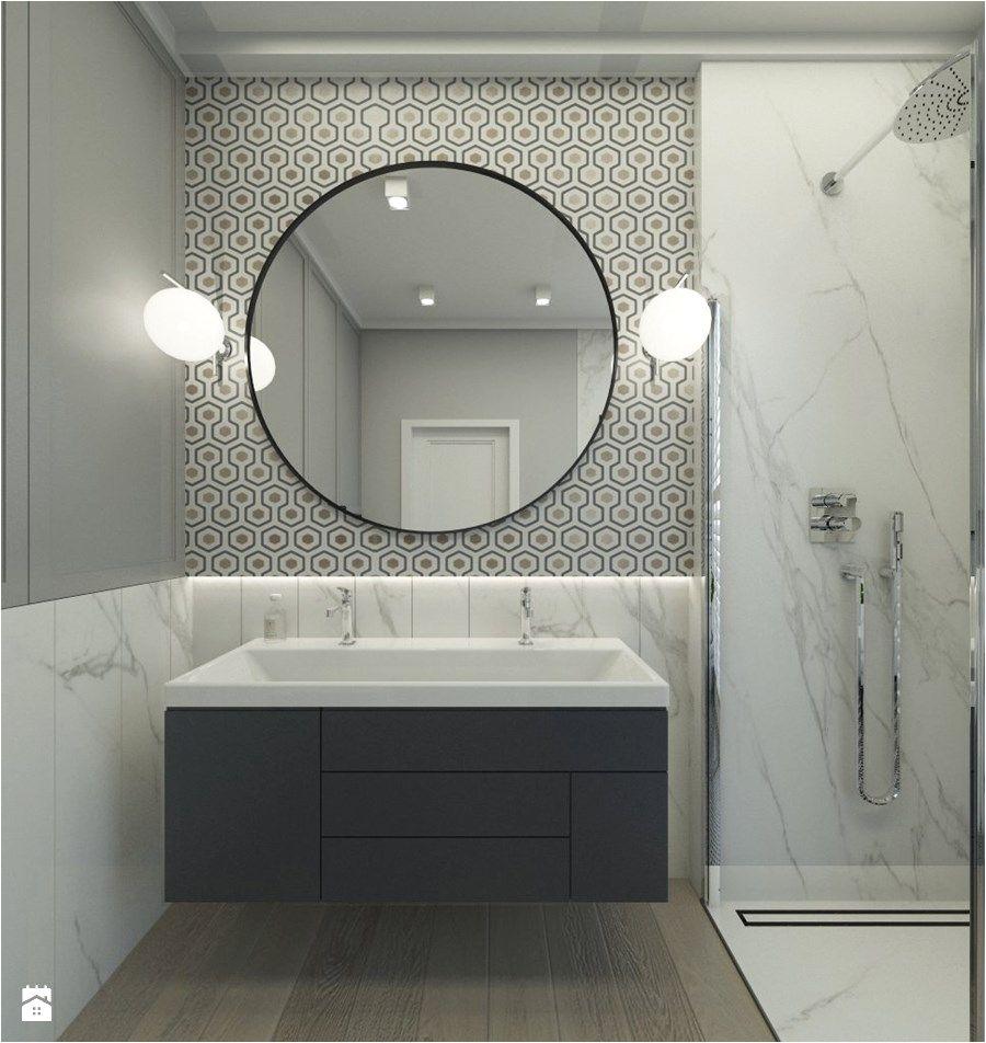 MIESZKANIE W STYLU NOWOJORSKIM Średnia łazienka w bloku w domu jednorodzinnym styl nowojorski zdjęcie od 3deko Vanity BathroomStyl VanitiesDressing