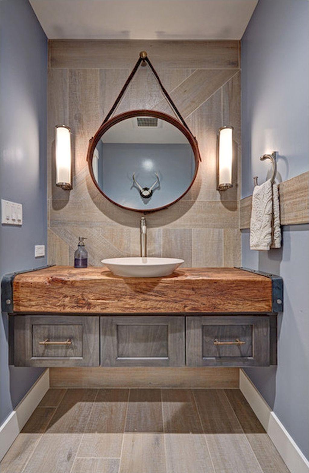 60 cool rustic powder room design ideas 34 Industrial Bathroom Mirrors Eclectic Bathroom