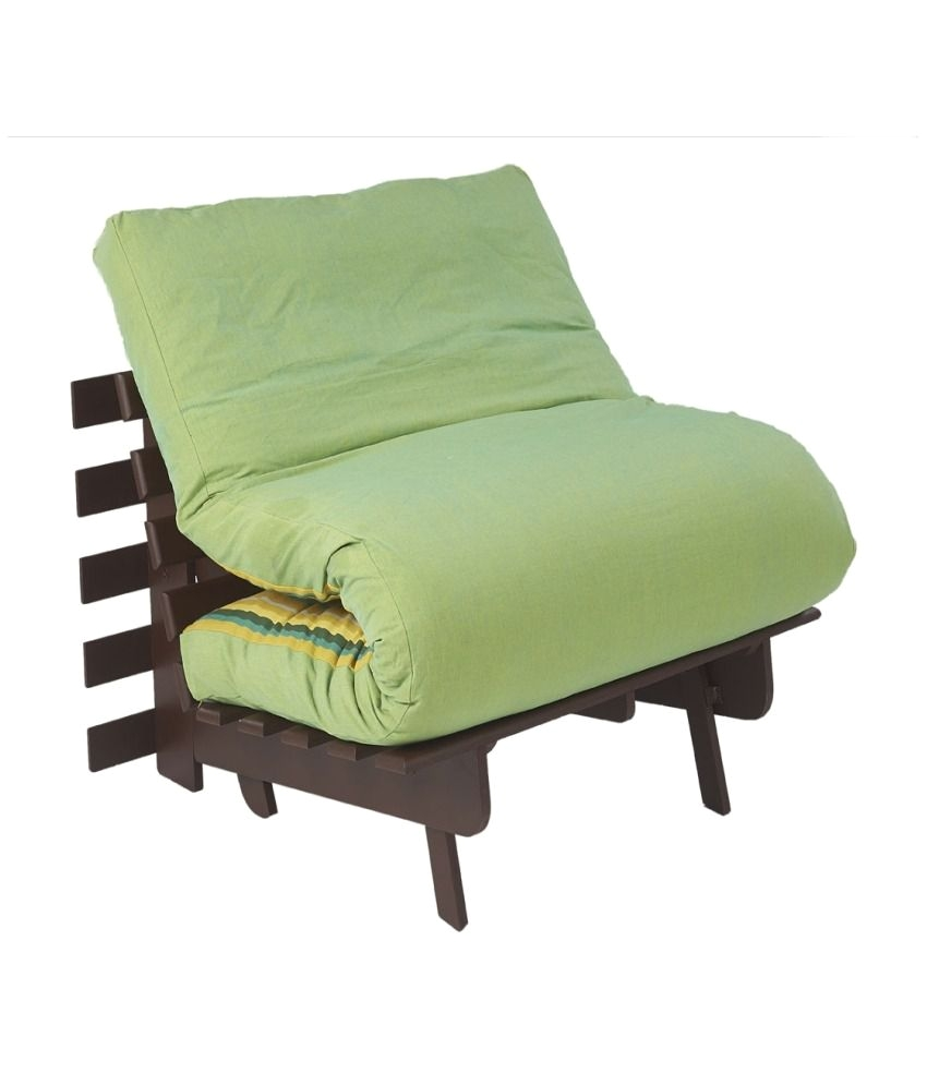 ARRA Single Futon Sofa Cum Bed Folding Beds with Mattress Fluorscent Green