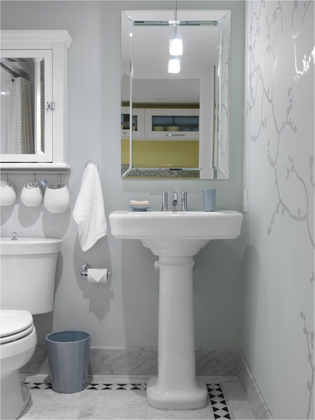 Guest Bathroom with wall decal AH Sarah s House A Mid Century Home
