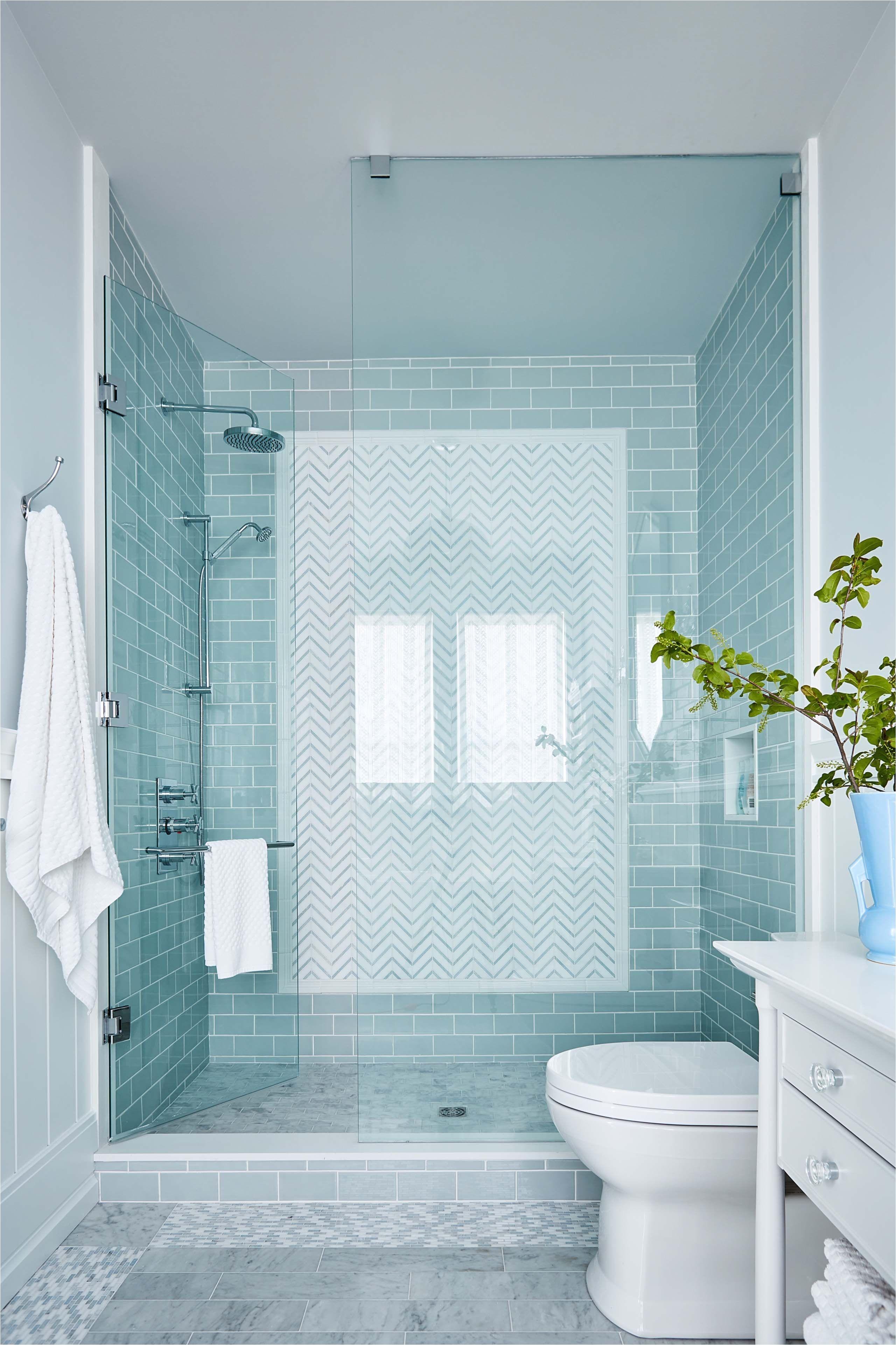 Aqua shower tile with grey floor tile in Robin s country bathroom Sarah Richardson Sarah off the Grid HGTV