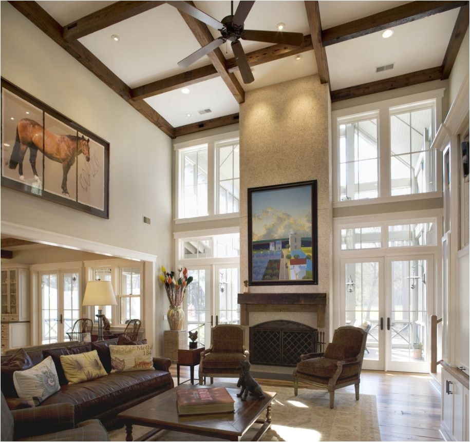 Impressive Living Room High Ceiling with Fancy Wood Hanging Ceiling Fan and White Rectangle Tall Window
