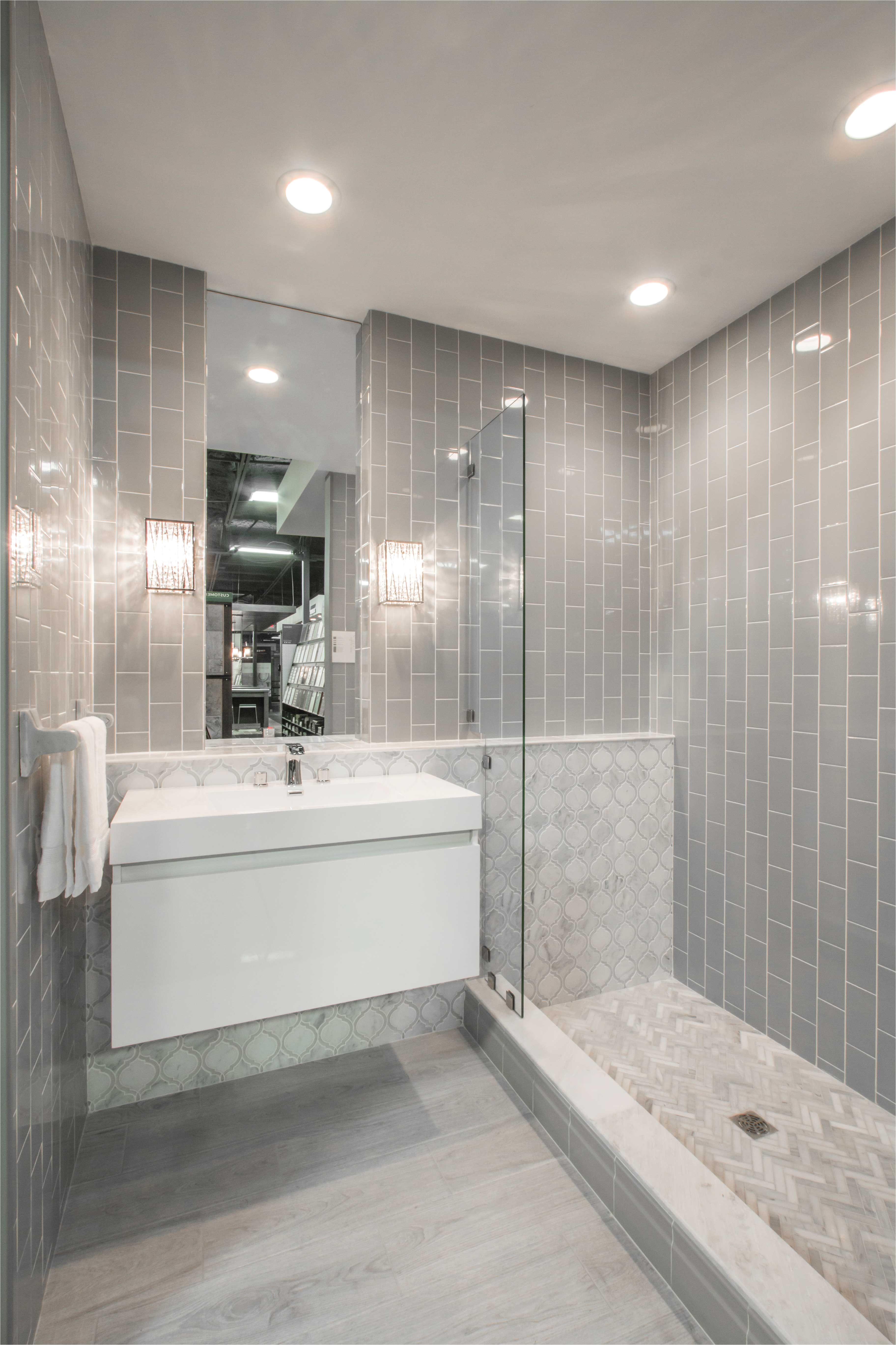 Simple yet elegant bathroom wall tile Imperial Ice Grey Gloss Ceramic Subway Tile s