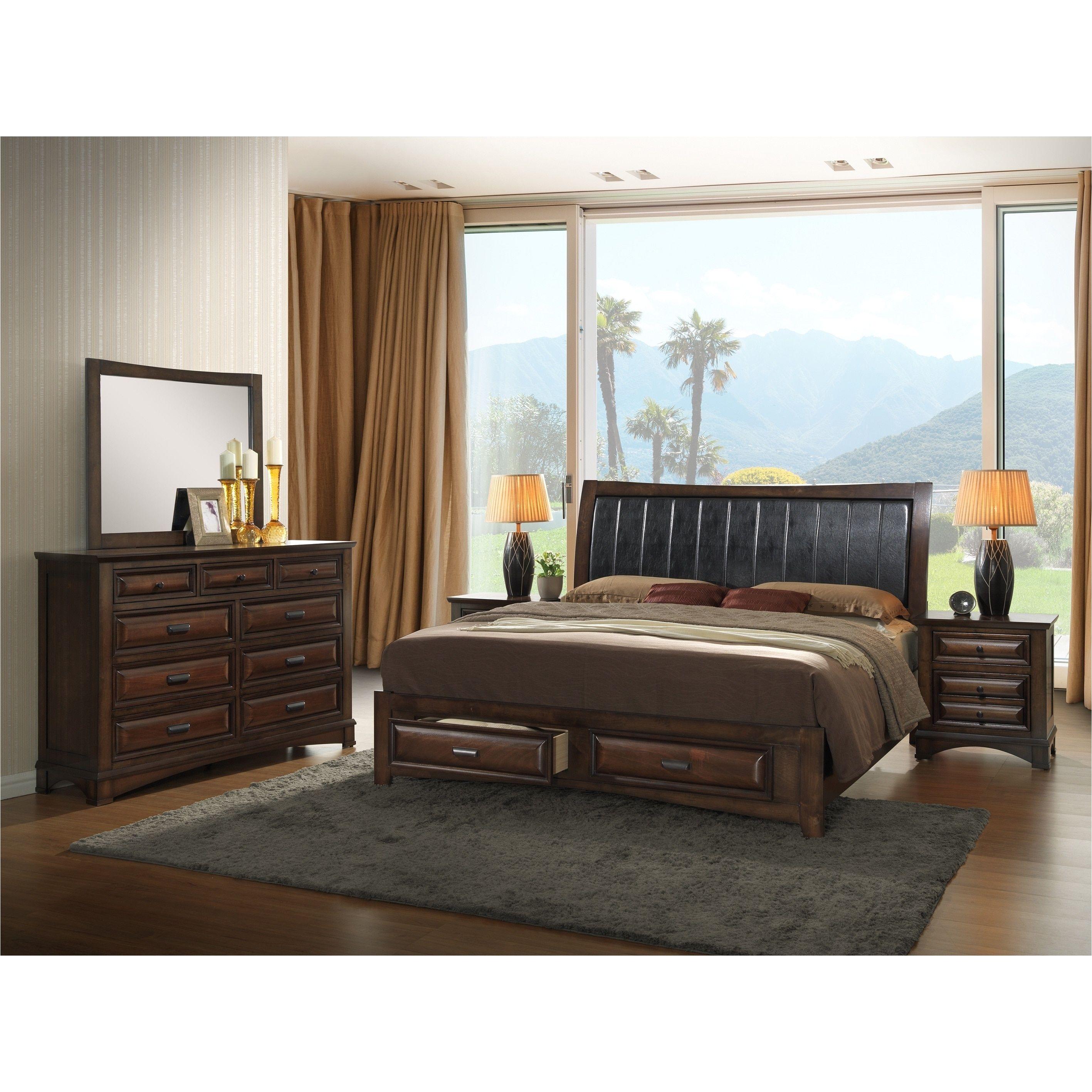 Broval Light Espresso Wood King size Storage Bedroom Set