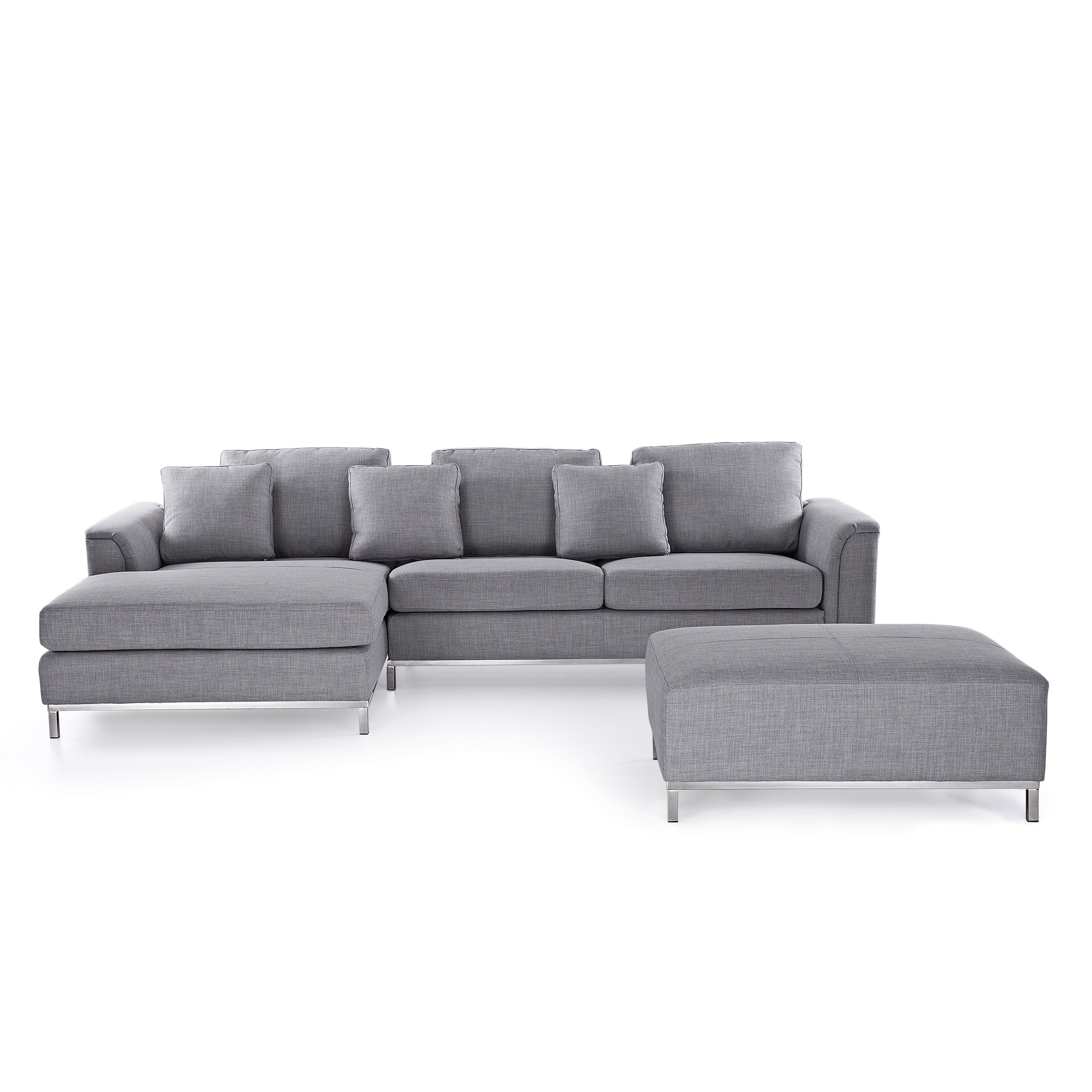 Beliani Oslo Modern Sectional Sofa with Ottoman Oslo Light Grey Polyester