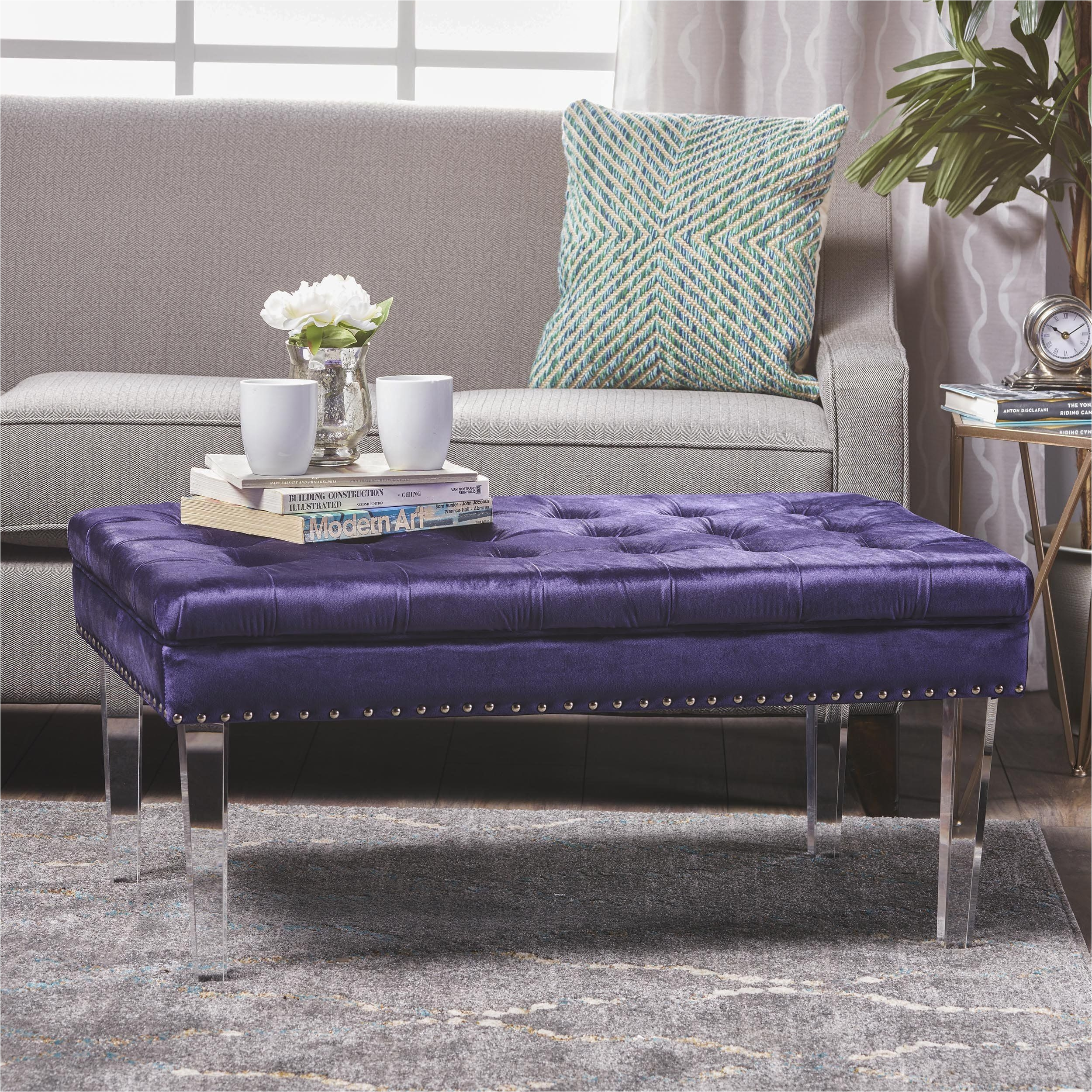 Colonial Tufted Cushion New Velvet Ottoman