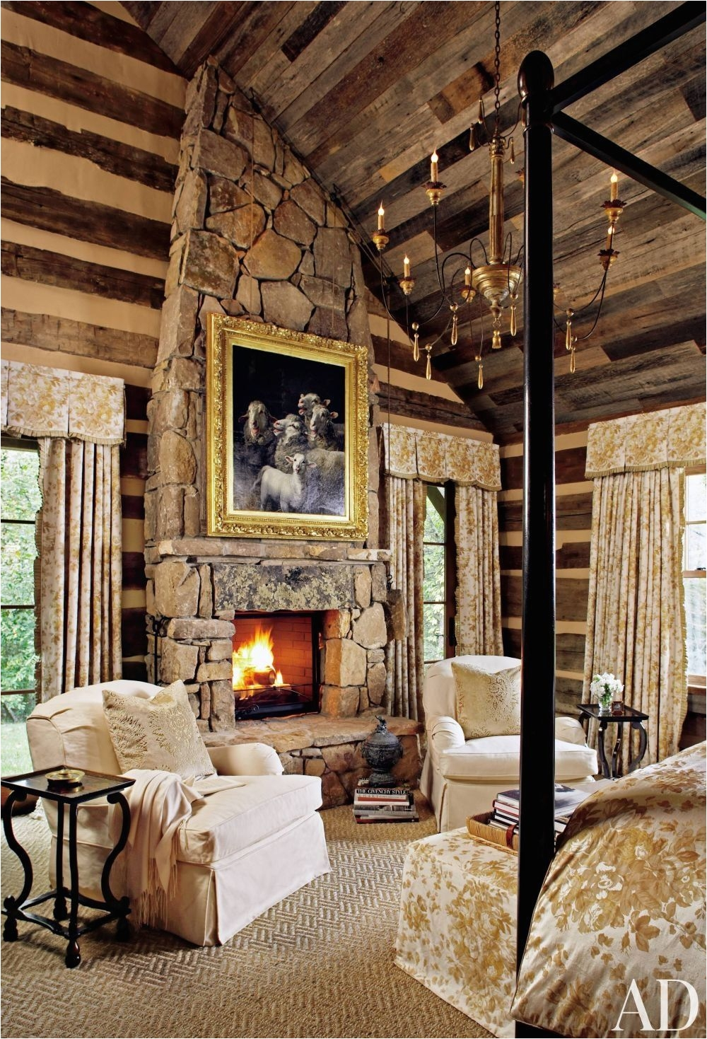 Bedroom Sweet Rustic Bedroom Decor Ideas With Nice Country Architecture Used Stone Brick Fireplace bine