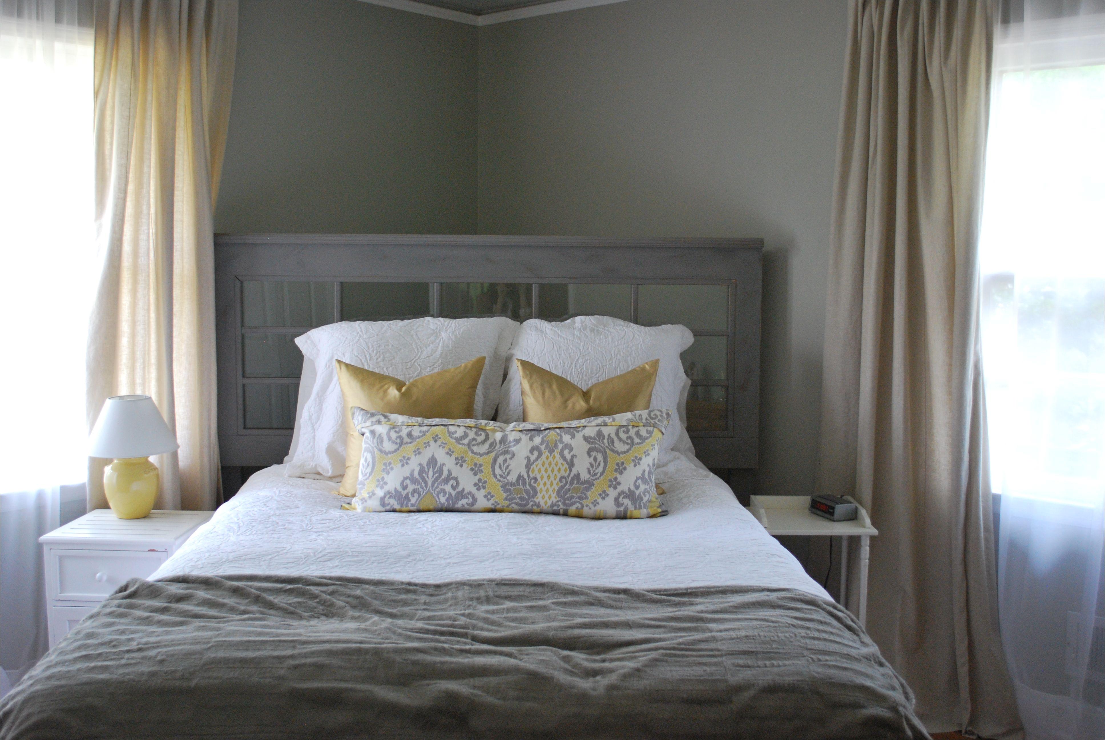 Grey walls tan linen curtains