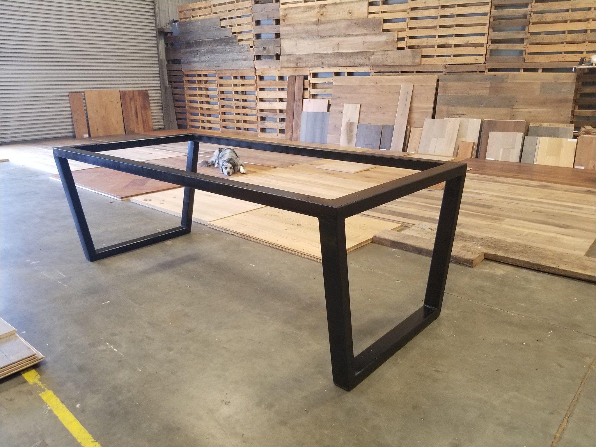 Custom Upside Down Trapezoid Leg Metal Table Base