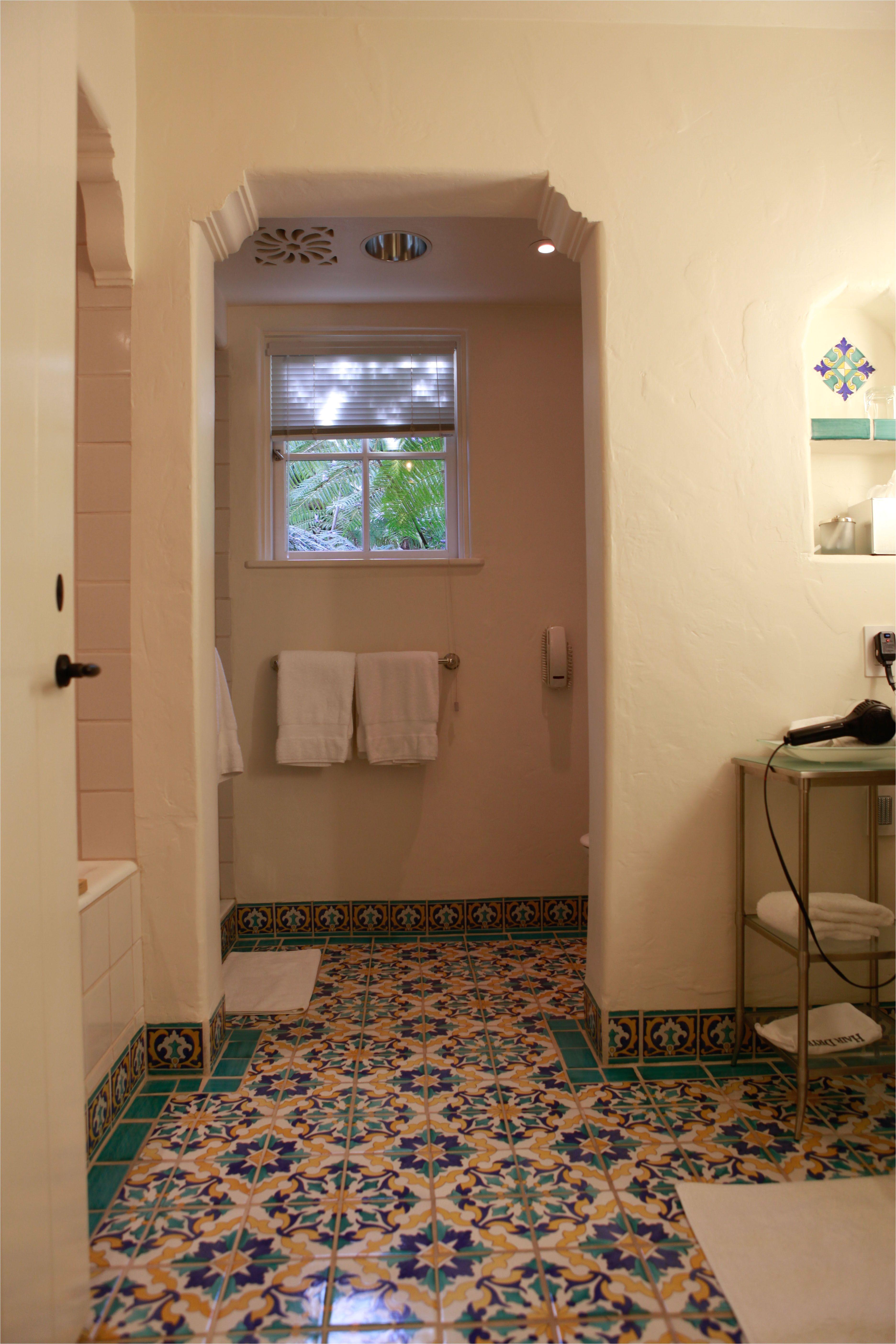 Love the tile floor in this bathroom of the Four Seasons Biltmore in Santa Barbara