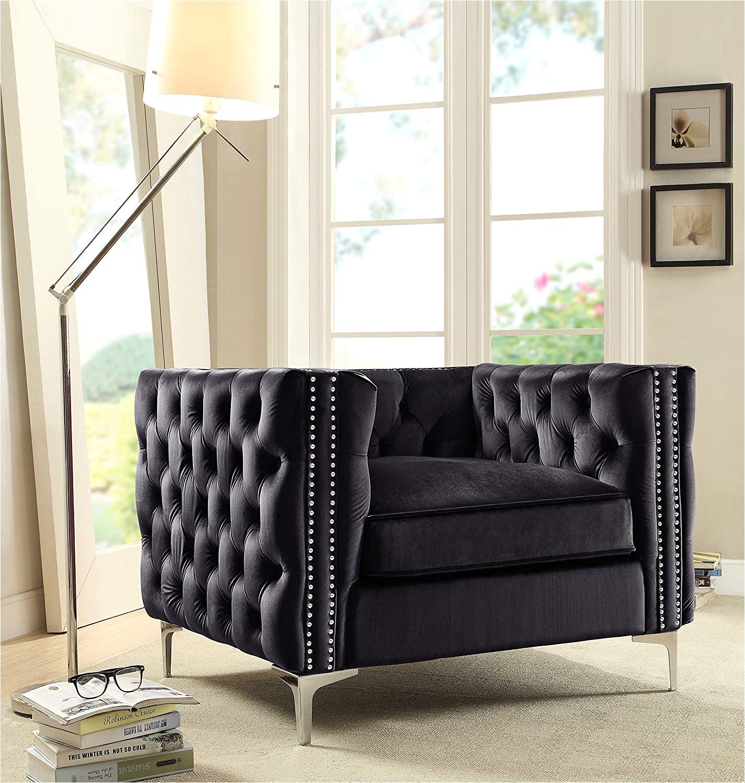 Amazon Iconic Home Da Vinci Accent Club Chair Velvet Button Tufted with Silver Nail Head Trim Silvertone Metal Y Leg Modern Contemporary