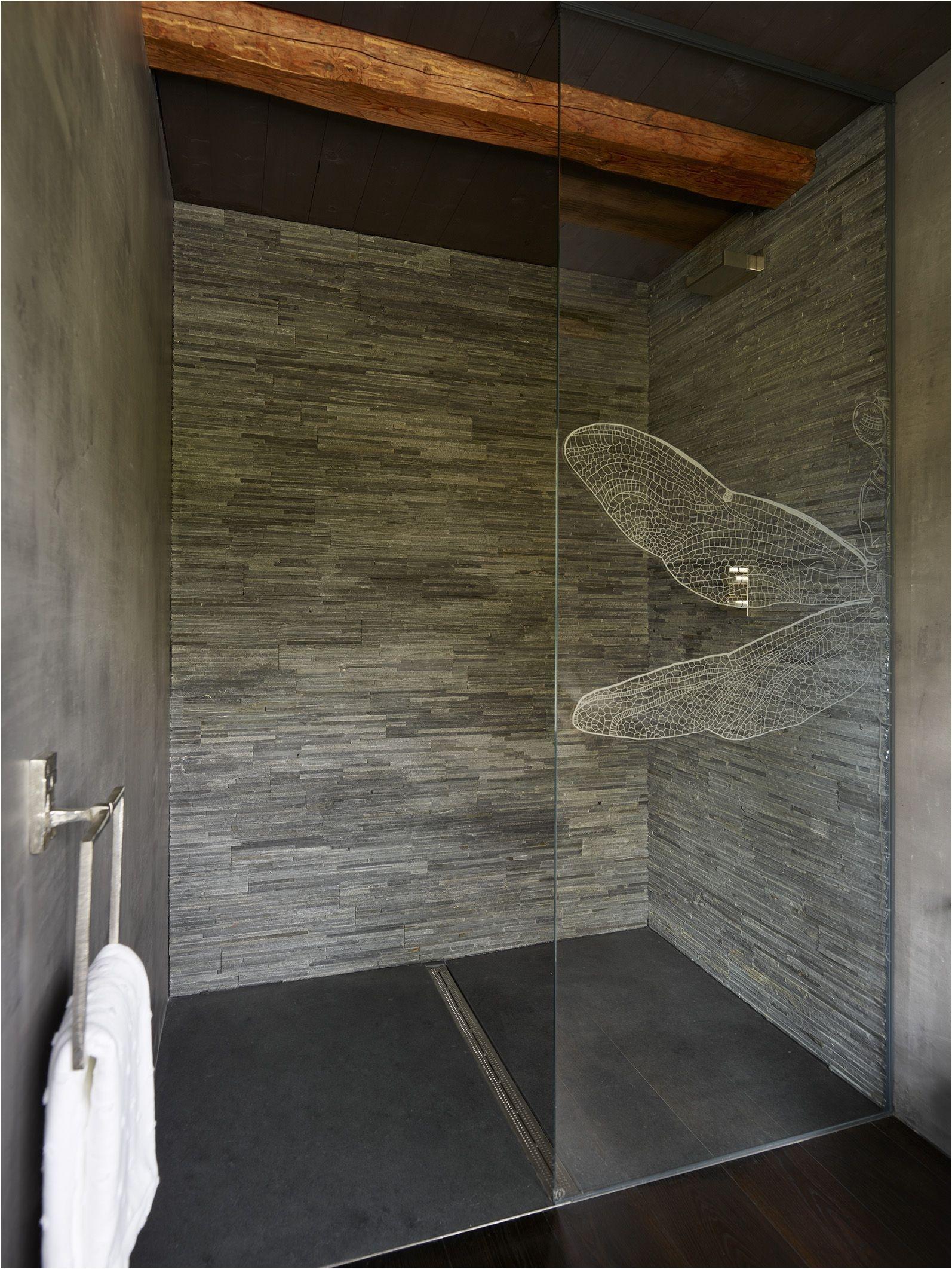 Split Face Grey Slate Shower Wall with Honed Black Slate Shower Floor