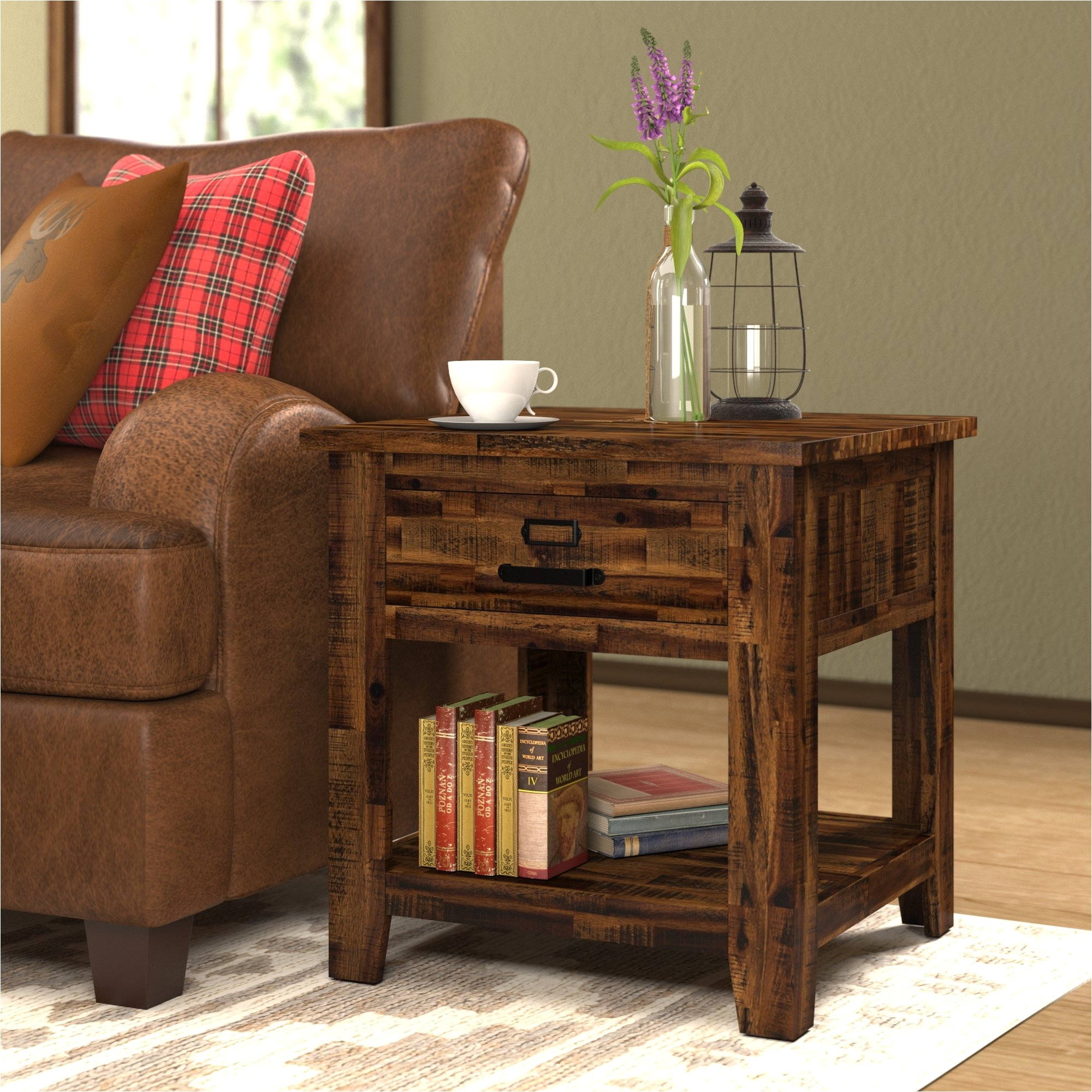 Storage Living Room Tables Loon Peak Archstone End Table with Storage & Reviews