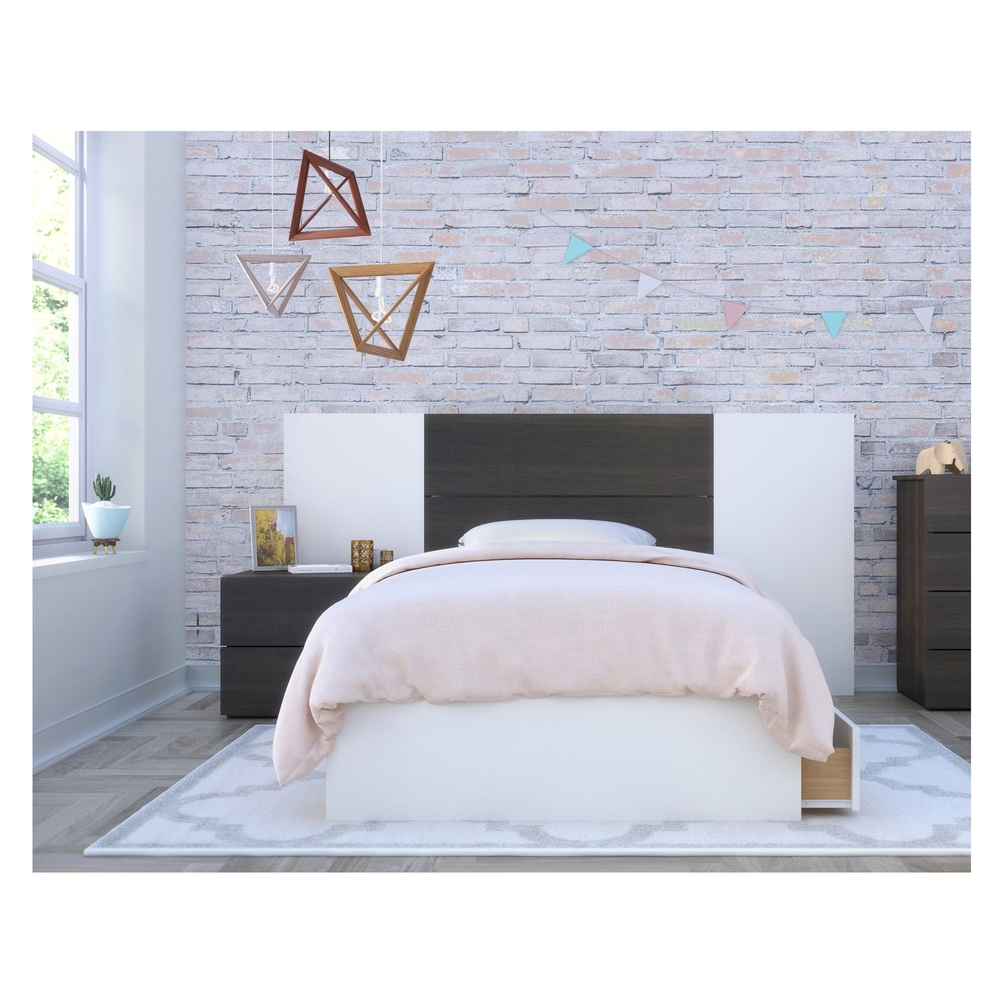 Cadence 4pc Bedroom Set Twin White & Black Nexera