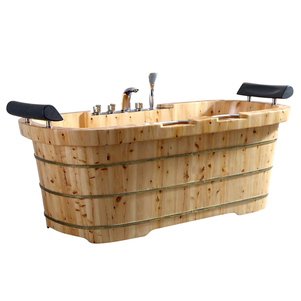 "2 Person Freestanding Bathtub 65"" 2 Person Free Standing Cedar Wooden Bathtub with"