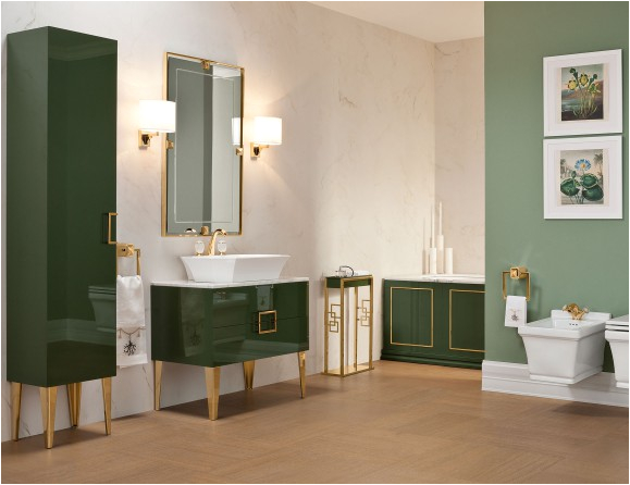 5.5 Foot Bathtub Daphne Bathroom High End Vanity Wood In forest Green Lacquer