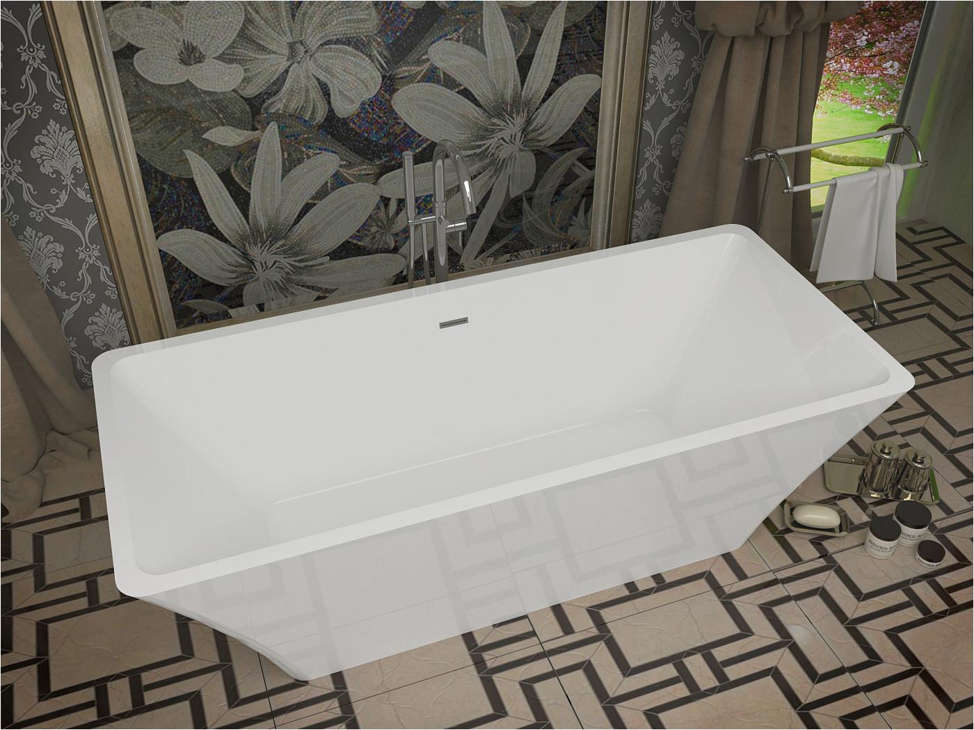 arden 5 5 ft acrylic center drain freestanding bathtub in glossy white