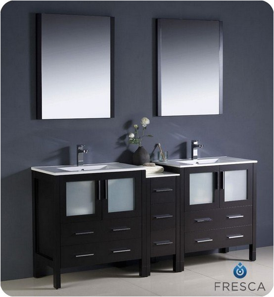 Fresca Opulento 54 Black Modern Double Sink Bathroom Vanity w Medicine Cabinet FVN8013BW