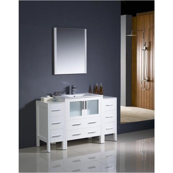 54 Inch Bathroom Vanity Modern Shop Fresca torino 54 Inch White Modern Bathroom Vanity