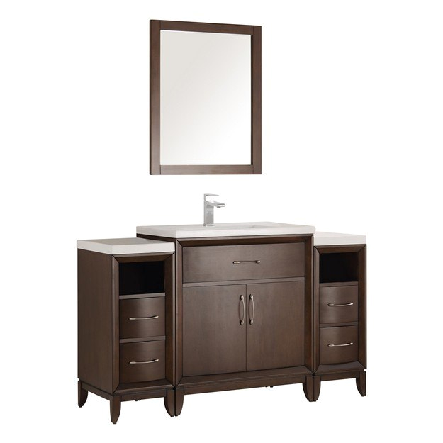 Fresca FVN21 AC Cambridge 54 Inch Antique Coffee Traditional Bathroom Vanity with Mirror