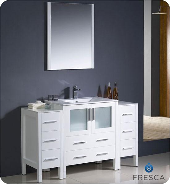fresca bath fvn62 wh uns 54 inch white integrated sink bathroom vanity