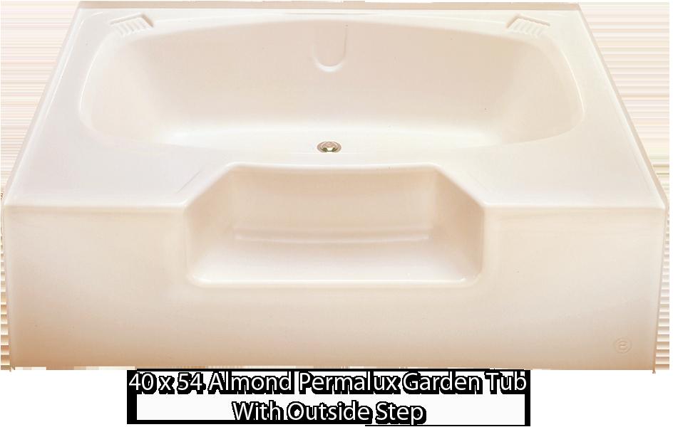 better bath almond permalux garden tub outside step 40 x 54