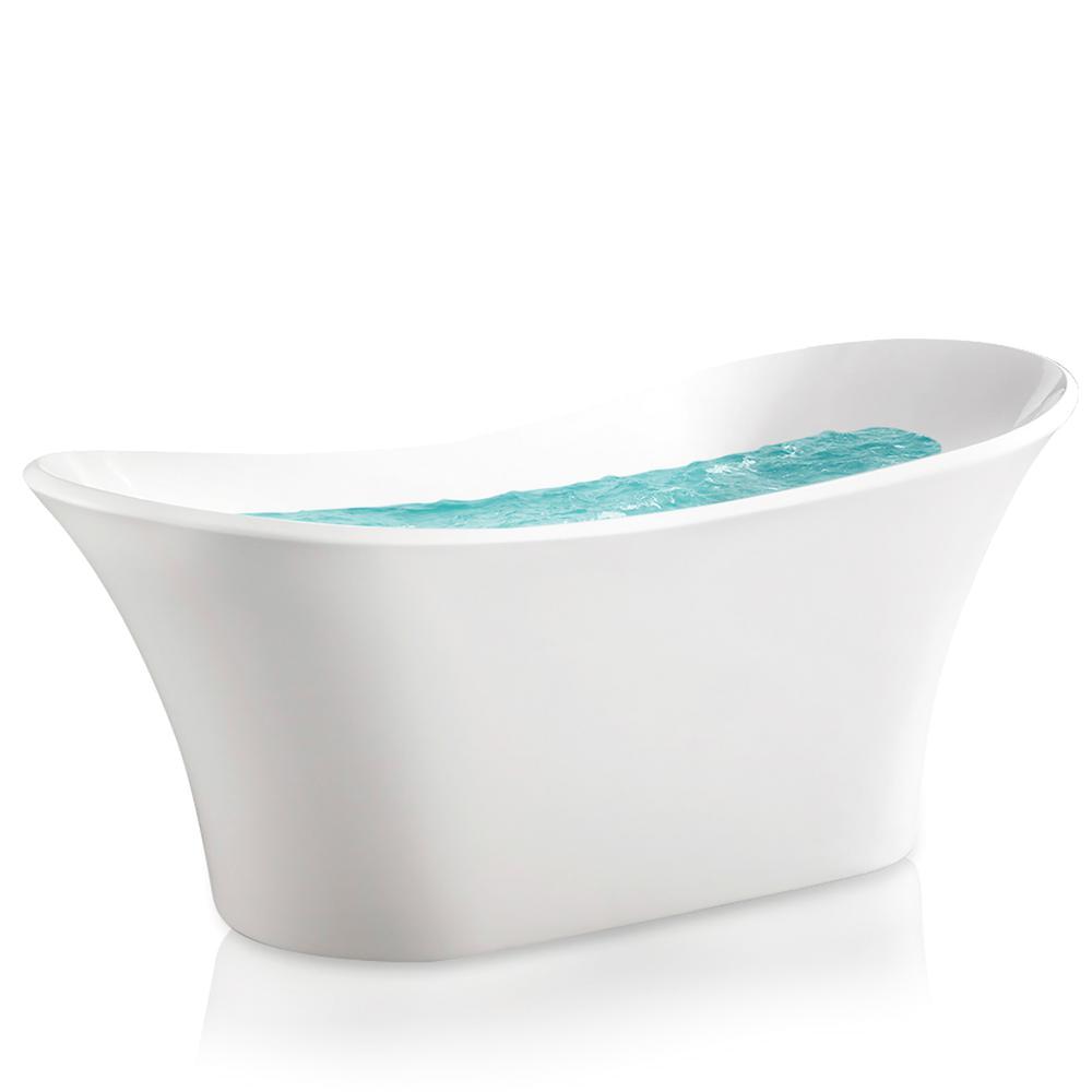 58 Freestanding Bathtub Akdy 5 58 Ft Acrylic Center Drain Oval Slipper Flatbottom