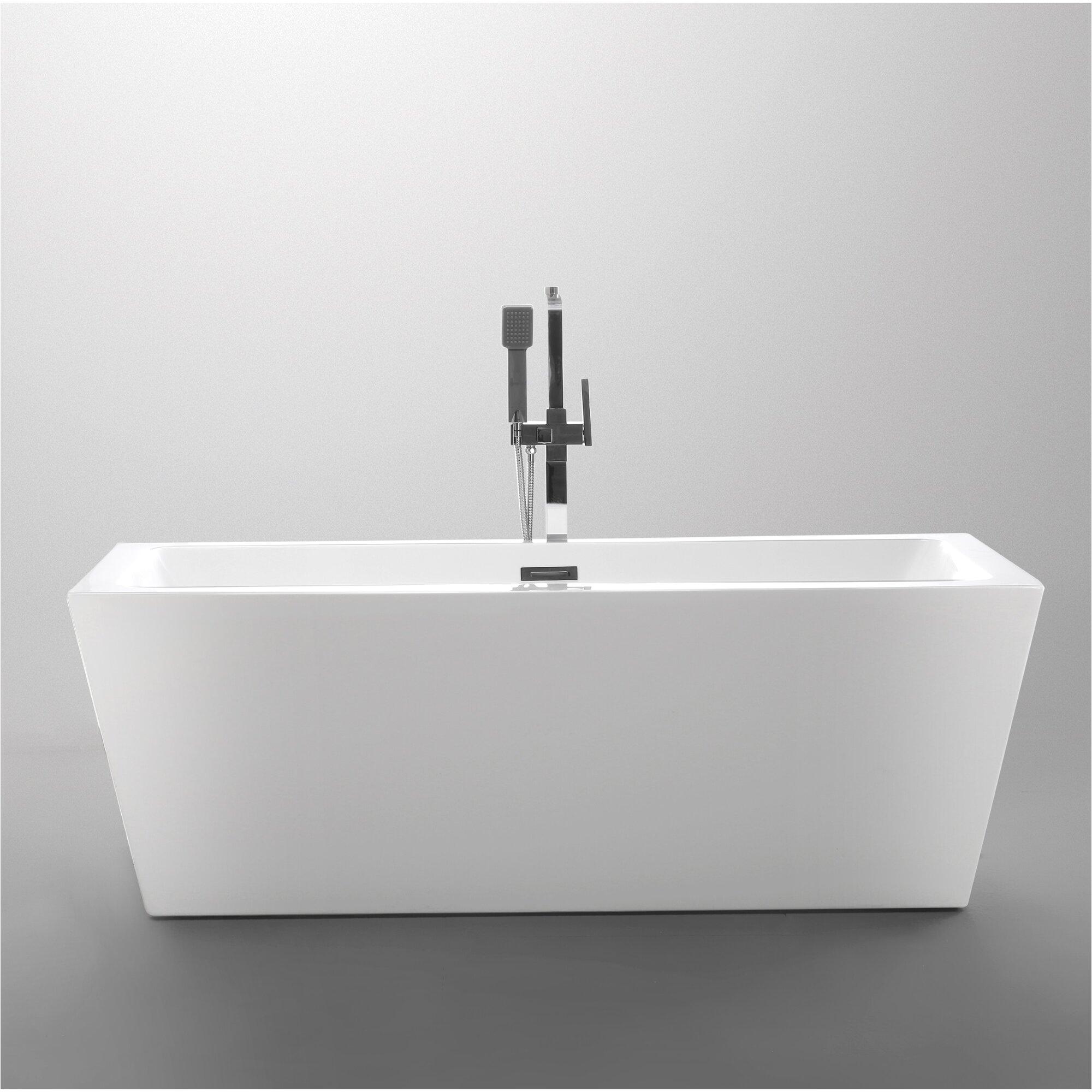 """59 Inch Freestanding Bathtub 59"""" X 29 5"""" Freestanding soaking Bathtub & Reviews"""