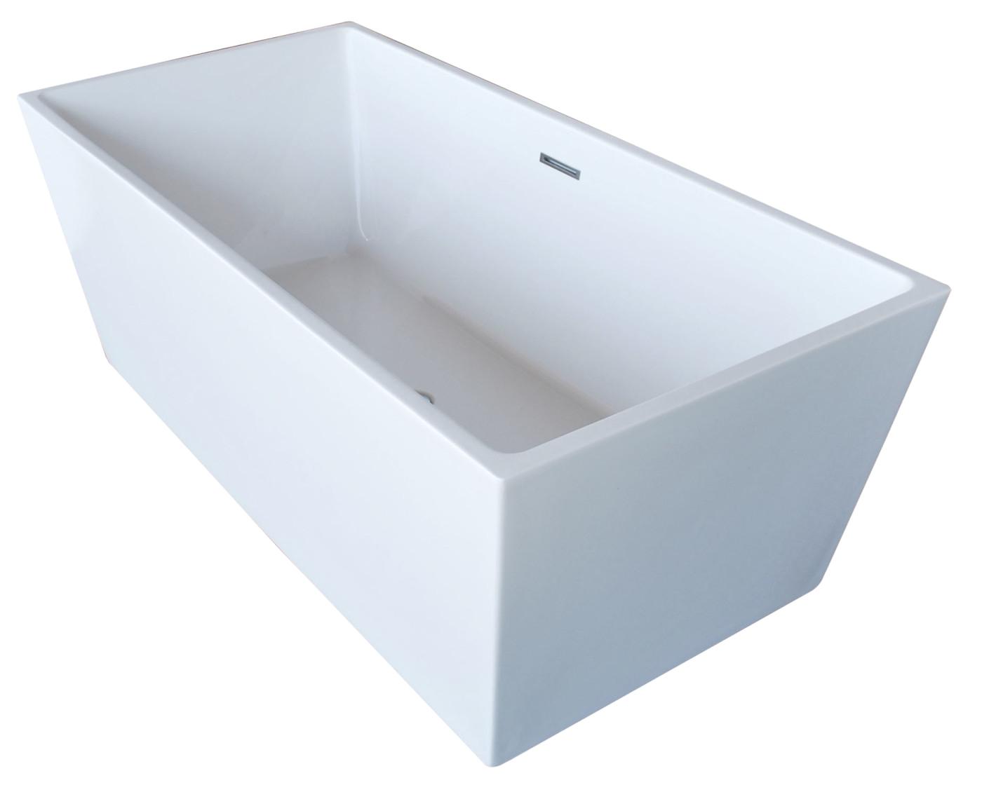 fjord 5 6 ft acrylic center drain freestanding bathtub in glossy white