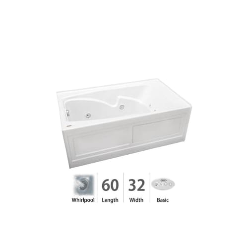 cetra 60 x 32 whirlpool bathtub color white 2