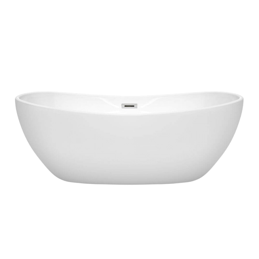 wyndham collection wcobt rebecca 65 inch freestanding bathtub in white with polished chrome drain and overflow trim