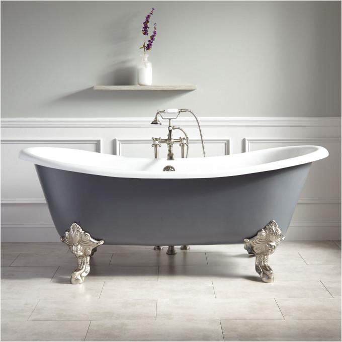 72 lena cast iron clawfoot tub with monarch imperial feet dark gray