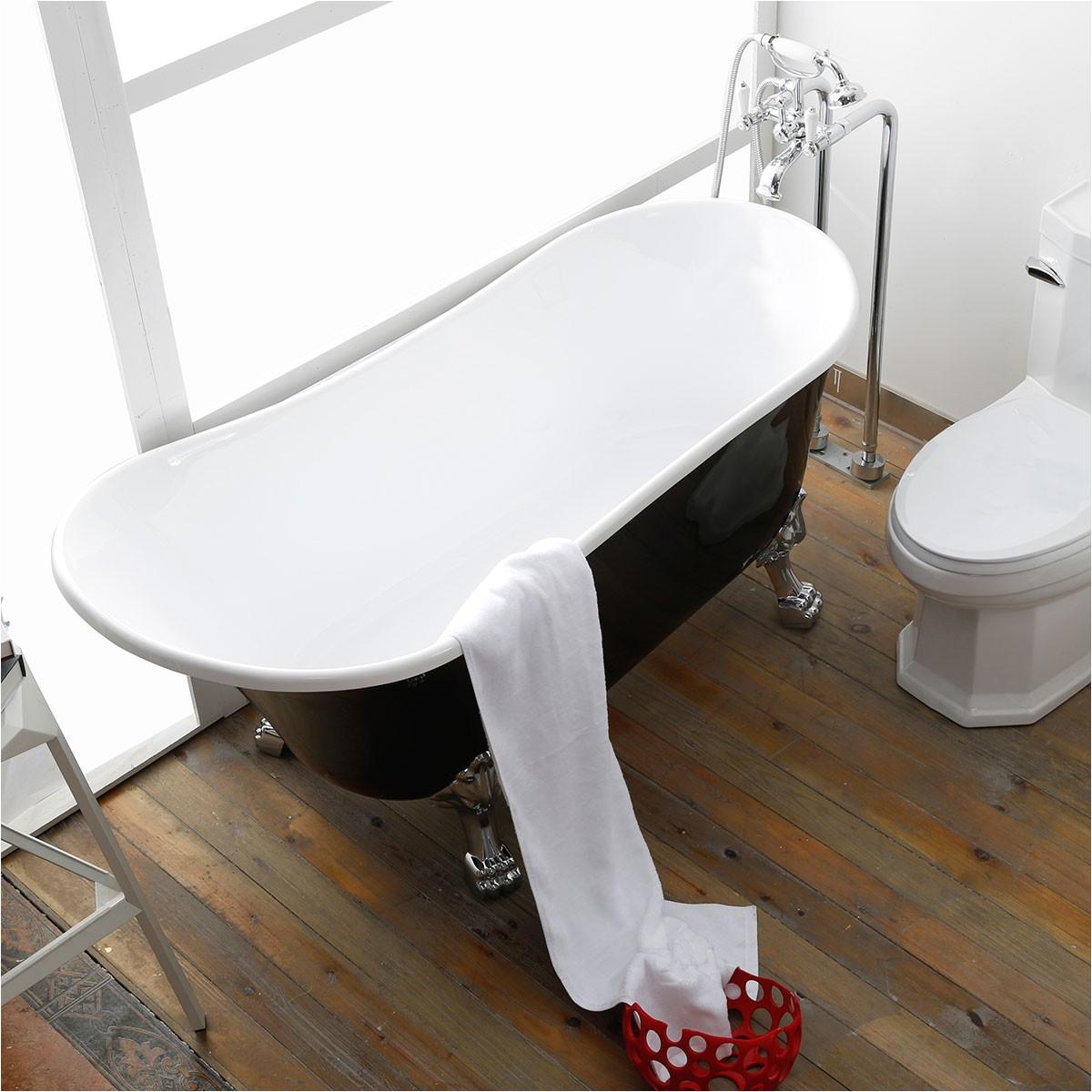 63 in clawfoot freestanding bathtub acrylic black dk 1675b