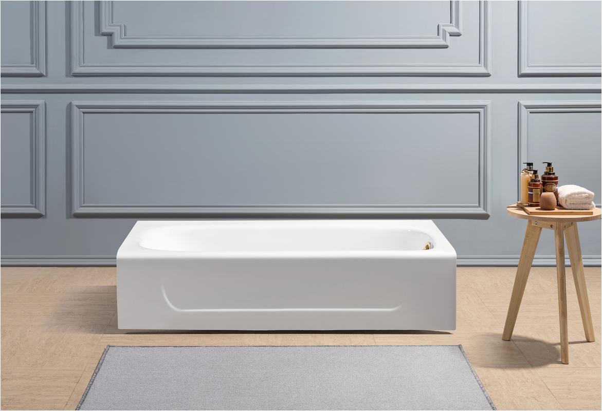 60 cast iron r5480gld soaking alcove tub with internal drain