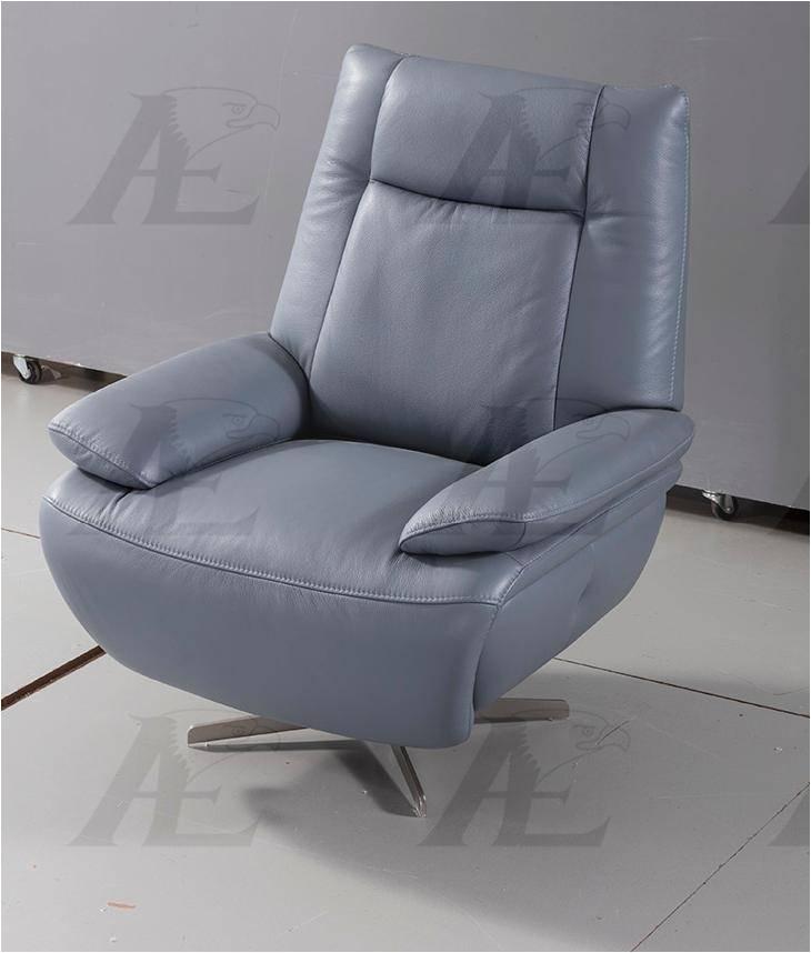 modern blue gray full italian leather accent chair american eagle ek ch10 bgy