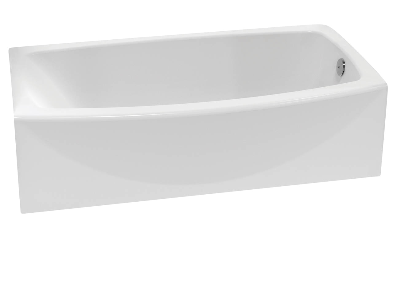 new curved tub apron provides more bathing room in standard footprint