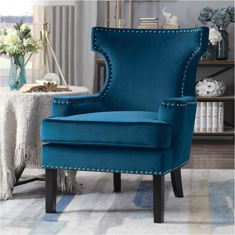 lapis accent chair blue homelegance he 1190bu 1