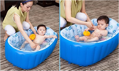 hhobake inflatable baby bathing tubs and seats portable bathtub kid toddler infant newborn inflatable foldable shower pool travel for 0 to 3 years old baby blue