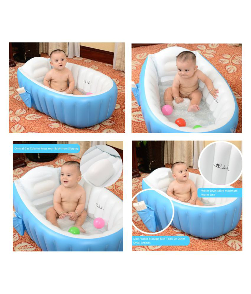 Baby Bath Tub Air Pump Cho Cho Blue Inflatable Baby Bath Tub with Pump