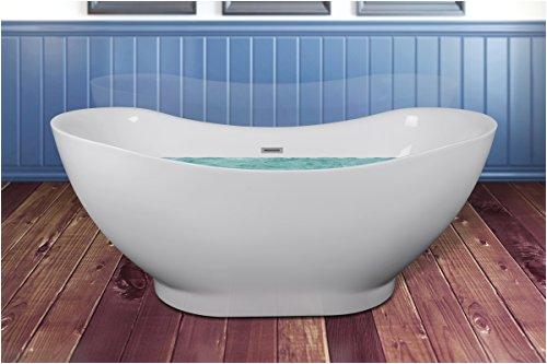 akdy 67 bathroom oval white color freestanding acrylic shower soaking bathtub